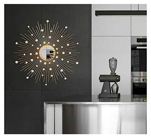 70CM Crystal Sunburst Wall Mirror Round Iron Art Creative 3D Stereo Shape,Wall Mirrors Hand forging Shabby Chic,Decorative Wall Mountable Home Decor Entrance, Hall, Bedroom, Hallway