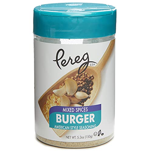 Pereg Burger Spice (5.30 Oz) - Hamburger Seasoning with Black Pepper, White Pepper, Onion, Garlic, & Mustard - Meat BBQ Seasoning for Beef, Chicken, Brisket, Ribs, Burgers, Potatoes - Non-GMO