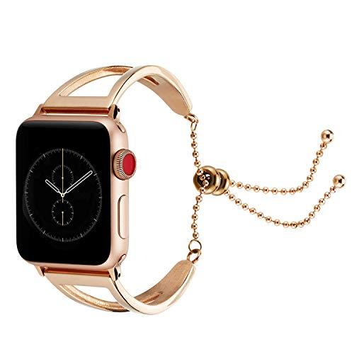Edelstahl Armband für Apple Watch Series 4 40mm, Runde Perlen Erstatzband Luxuriöse Mode Ersatz Handschlaufe Mädchen Uhrenarmband Strap Wrist Strap Watch Band für Apple Watch 38mm Series 3 2 1