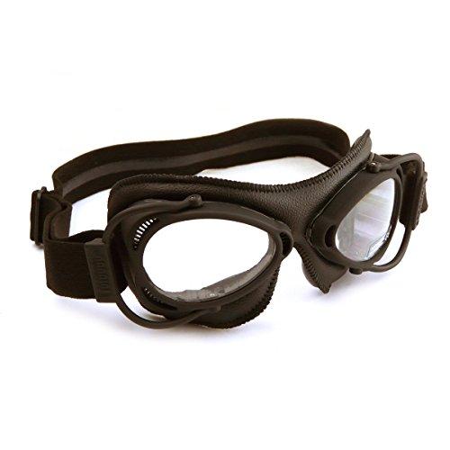 HDM Nannini Streetfighter italiano moto occhiali con montatura marrone e un marrone cuoio Facemask