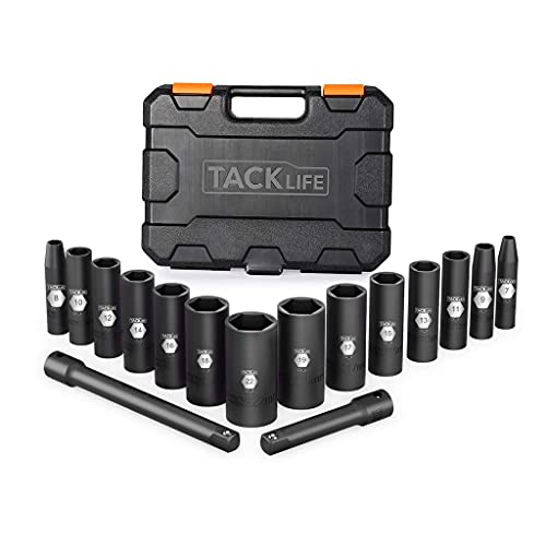 TACKLIFETOOLS 16 Pcs Socket Set, 3/8' Inch Drive Deep Impact Socket Set with Metric Size 7mm - 22mm, CR-V Steel & Magnetic Bit Adaptor, Perfect for Household DIY and Daily Repairing-HIS4A