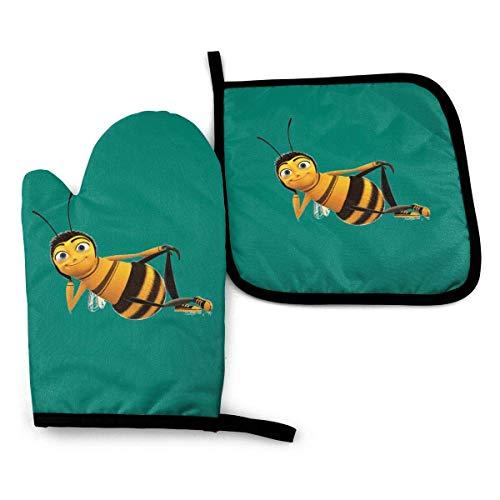 Bienenofenhandschuhe und Topflappen, beständige heiße Pads mit rutschfesten Grillhandschuhen aus Polyester für Küche, Kochen, Backen, Grillen-F4