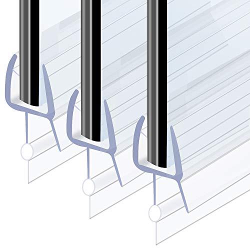 Defrsk 3x100cm Duschdichtung Ersatzdichtung Duschtür Dichtung für 4-6mm Glastür Stärken Wasserabweisende Transparent Duschdichtung Verlängerter Wasserabweiser für Dusche Glastür