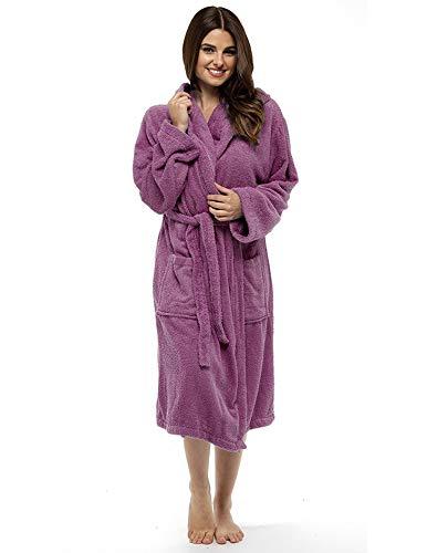 CityComfort Señoras Robe Luxury Terry Toweling algodón Bata Albornoz Mujeres Altamente Absorbente Mujeres con Capucha y Shawl Towel baño Abrigo (S, Orquidea Salvaje)