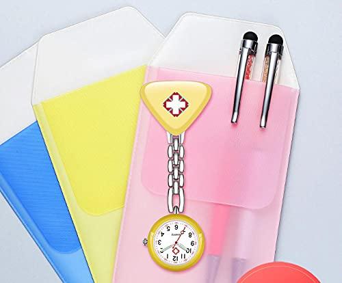 YYMY Reloj de Bolsillo médico paramédico,Mesa Colgante de Enfermera de Cuarzo con luz Nocturna, Lista de Cadena de Bolsillo médico con Clip-Blanco 12