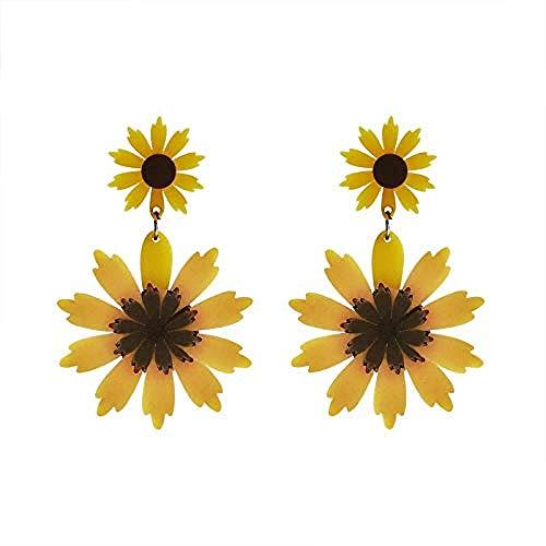 Pendientes Sun Flower Flor Grande Amarilla Temperamento Exagerado Aretes Aretes Aretes Hembra...