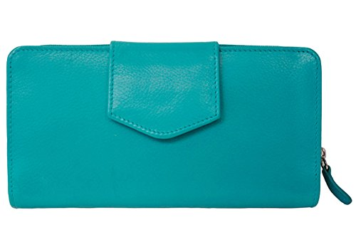 ili Leather 7410 Checkbook Wallet with RFID Blocking (Aqua)