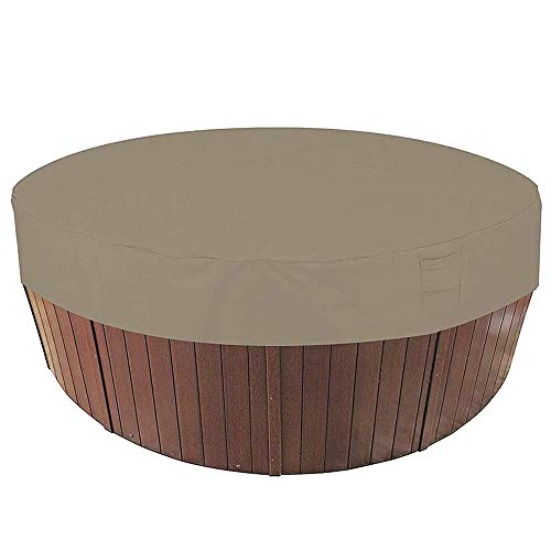 HOXMOMA Al Aire Libre Cubierta Redonda de Bañera de Hidromasaje, Cubiertas de bañera de SPA para jardín, Protector Impermeable para bañera de hidromasaje, 100% UV Resistente,Beige,190x90cm