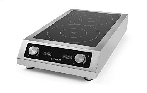 HENDI Induktionskocher, Modell 7000, mit 2 Kochfeldern, Elektronischer Schutz vor Überhitzung, 400V, 7000W, 405x698x(H)145mm, Edelstahl