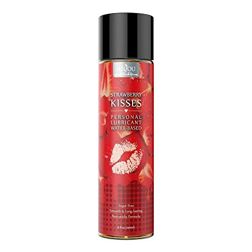 Personal Lubricant 8 oz Water Based Strawberry-Flavored Sex Lube for Women, Men and Couples Hypoallergenic Vegan-Friendly, Suitable for Sensitive & Dry Skin Made in USA