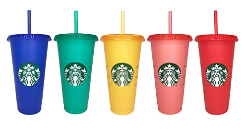 Starbucks 2020 Color Changing Reusable Cold Cups Summer 24 oz, Set of 5