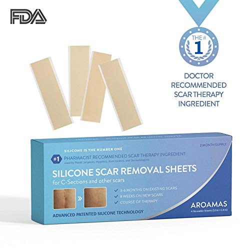 Aroamas Professional Silicone C-Section Scar Removal Sheets, Soft Adhesive Fabric Strips, Drug-Free, Relieves Itching, Remove Keloid Scars, Acne (2 Month Supply)