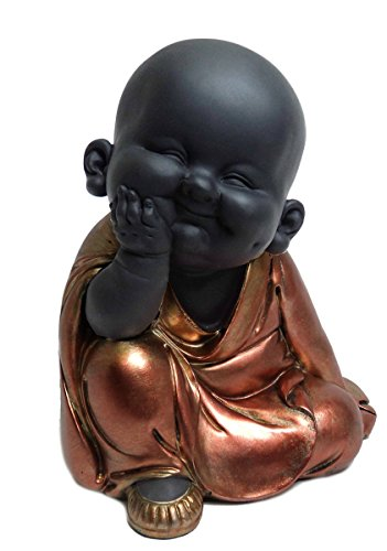 Happy-Buddha-Figur, meditierend, Rotgold bemalt, Kunstharz, rose gold