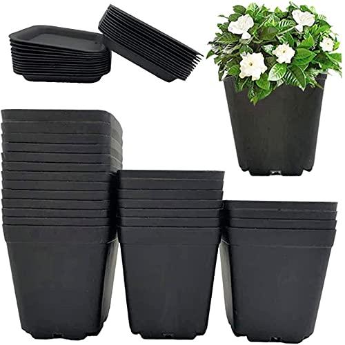 KAHEIGN 24 stuks vierkante plantenpotten, 7 cm dikke plastic bloempotten vetplant kwekerij potten met pallet/trays voor…