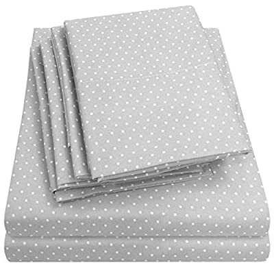 Sweet Home Collection 6 Piece Bed Sheets 1500 Thread Count Fine Microfiber Deep Pocket Set-EXTRA PILLOW CASES, VALUE, King, Dot Gray