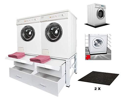 Untergestell für Waschmaschine Sockel Unterbau mit Ausziehregal weiß Stahl 100kg