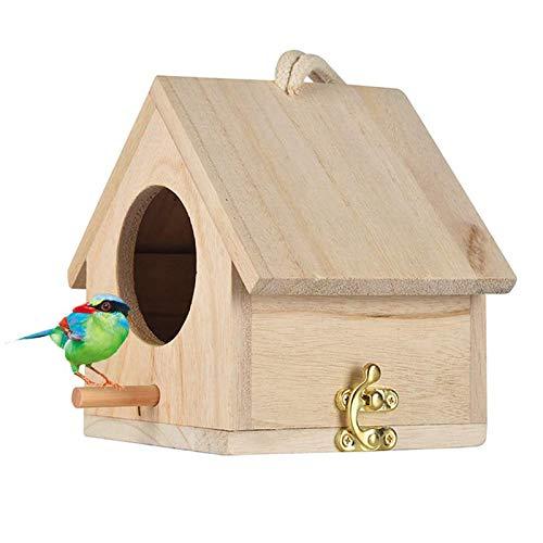 bird houses Wooden Bird House, Hanging Birdhouse for Outside, Garden Patio Decorative Nest Box Bird House for Wren Swallow Sparrow Hummingbird Finch Throstle