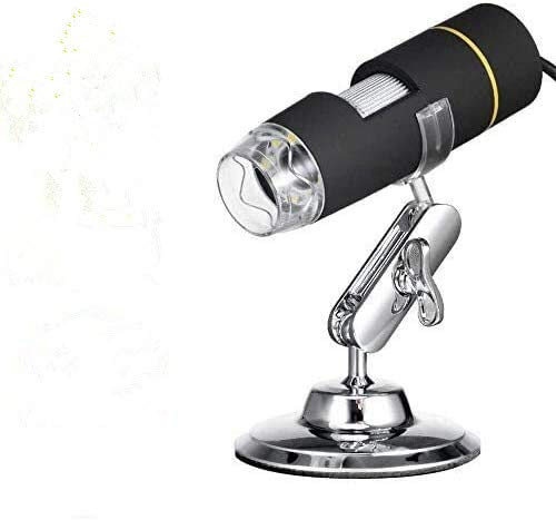 YFang Endoscopio de Aumento 1000x de microscopios Mini USB con Soporte de Metal, microscopio Digital de 2MP 8 LED USB 2.0/1.1, Compatible con Mac Window 7 8 10 Android Linux