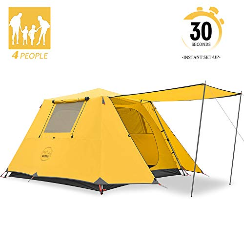 KAZOO Family Camping Tent Large Waterproof Pop Up Tents 4 Person Room Cabin Tent Instant Setup with Sun Shade Automatic Aluminum Pole