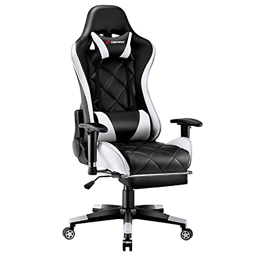 JL Comfurni Video Gaming Chair Racing Computer Chair with Footrest Ergonomic Office Desk Chair 360° Swivel High-Back Gaming Recliner with Lumbar Support White