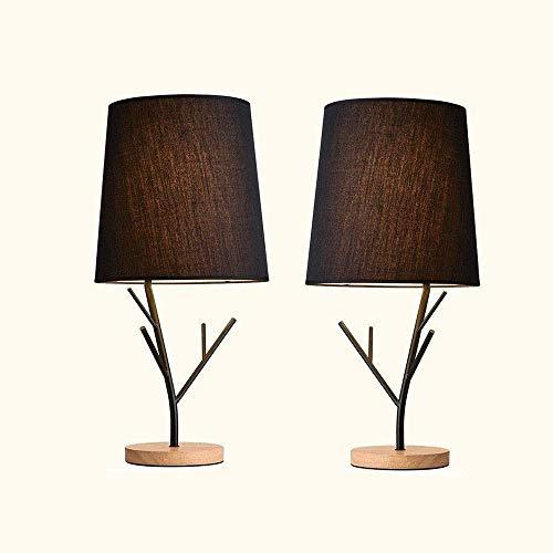 Living Equipment Lámpara de mesa simple Estilo retro de pantalla de madera maciza y tela Iluminación relajante para el dormitorio Lámpara de mesa de noche Estudio de sala de estar contemporáneo (Co