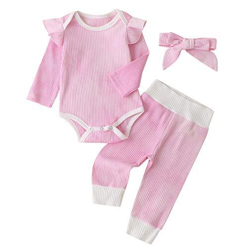 Bebé recién Nacido 2020 Moda Irregular Tie Dye Patrón Mameluco Colorido 3 Pieza Tie Dye Conjunto de Ropa para Bebé Niño Niña(Rosa,80(6-12 Meses))