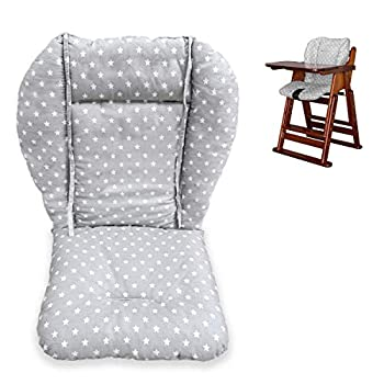 Twoworld High Chair Cushion Large Thickening Baby High Chair Seat Cushion Liner Mat Pad Cover Breathable  Fashion Gray