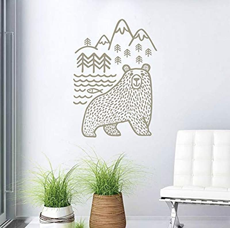 Gabriel Bloor Wild Animal Bear Wall Decal Woodland Mountains Mama Bear Vinyl Wall Stickers Baby Nursery Home Decor 56x39cm