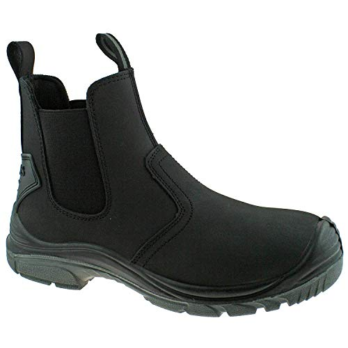 Grafters Mens Black Lightweight Safety Chelsea Dealer Work Boots M371A KD-UK 8 (EU 42)