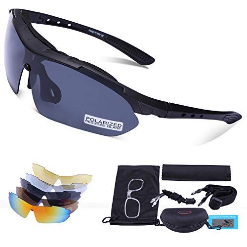 Carfia Multi TR90 UV 400 Outdoor Sport Brille Polarisiert Sonnenbrille Radbrille mit 5 wechselbare Linsen für Skilaufen Golf Radfahren Laufen Angeln Baseball,B