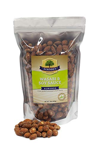 Wasabi & Soy Sauce Almonds (16oz) Roasted Seasoned Almonds from the Sohnrey Family Farm (Wasabi and Soy, Single)