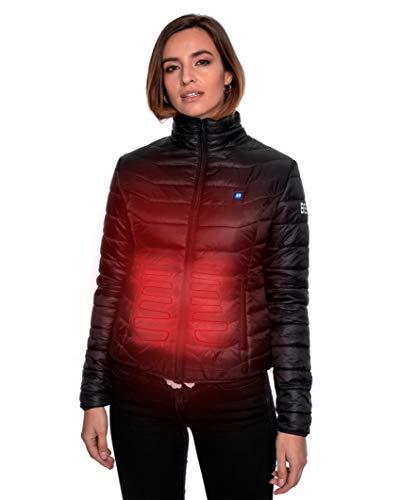 Beston Cazadora calefactable Mujer - 3 Niveles de Temperatura, 5 Zonas de calentado, hasta 7 Horas de duración, Carga tu móvil hasta 4 Veces - Color Negro, Talla S