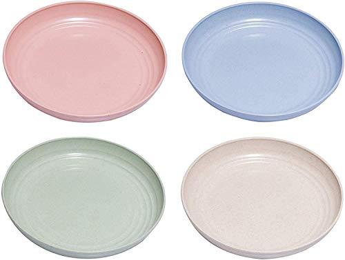 NYKK 4 stücke leichte unzerbrechliche weizen strohplatte, gesund umweltfreundliche degradierbare obstgerichte, bpa freie Platten, Wiederverwendbare Teller lalay (Color : 4pcs Multicolor)