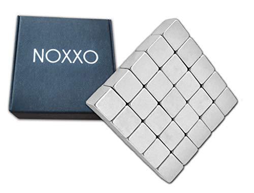NOXXO XL Neodym Magnete Würfel 10mm Extra Stark [25 Stück] inkl Schachtel für Glastafel Memoboard Magnettafel Whiteboard Glasmagnettafel