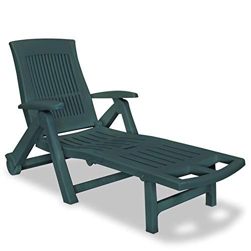 BIGTO Sun Lounger with Footrest Plastic Garden Deck Chair (Green)