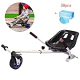 WFLRF Go Kart for Electric Scooter Adjustable Hoverkart Seat Compatible with Classic 6.5' to 10' and Off Road 8.5' Self Balance Board Follow Your Board Sliding and Performing Tricks,White