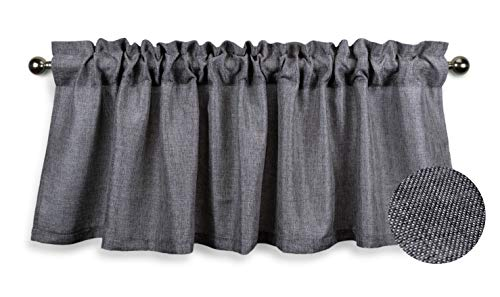 Aiking Home (Pack of 1) Faux Linen Valance for Windows with 2.5 inch Rod Pocket - Unlined - Semi Sheer, Perfect for Kitchen Valance, Bedroom & Living Room Window Treatment (56x16 inch, Grey)