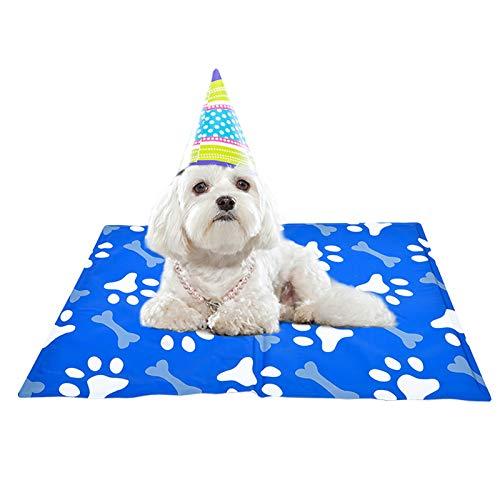 XIAPIA Kühlmatte für Hunde Kühldecke Ungiftig Gel Matte, Druck Aktiviert Selbstkühlende Decke für Welpe Katzen Innen&Draußen im Heißen Sommmer Blau (M (50*65))