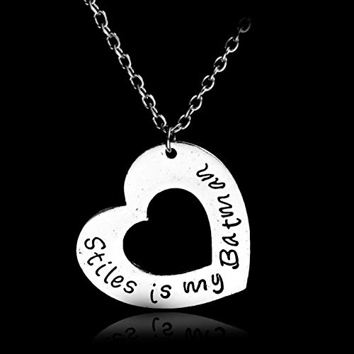 Fnito Collar Teen Wolf Stiles es mi Collar Colgante de corazón de Plata Retro Vintage JOYERÍA la Mano escribiendo Carta Collares