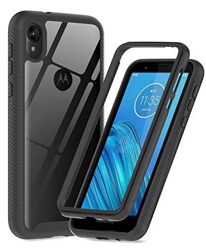 LeYi Moto E6 Case, Motorola E6 Case (Not Fit E6 Plus), Full-Body Shockproof Rugged Hybrid Bumper Heavy Duty Protective Phone Cover Cases for Moto E6 / Motorola E6, Black