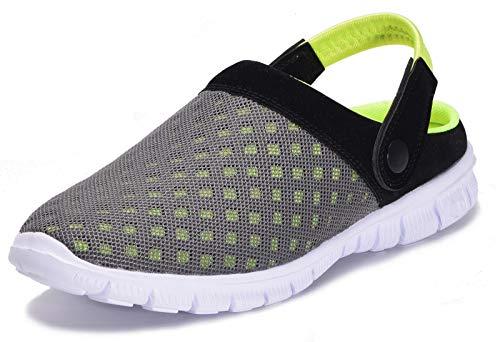 Zapatillas de Jardin Mujer Sandalias de Playa Hombre Zuecos de Sanitarios Zapatillas Ligeros Respirable Zapatos Verano,Verde,EU 44