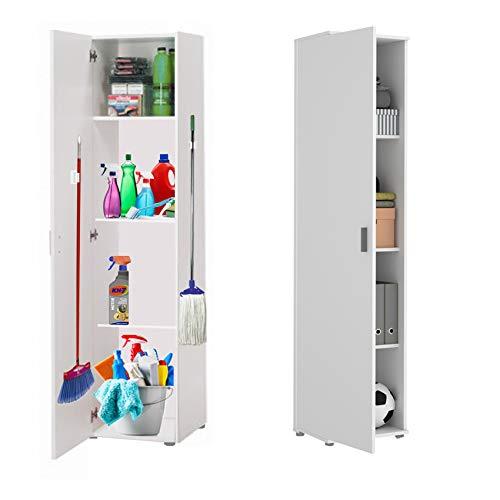 HABITMOBEL Mueble Multiusos Acabado Blanco, Alto 190cm Patas Regulables + Gancho Incluido escobero, fregona