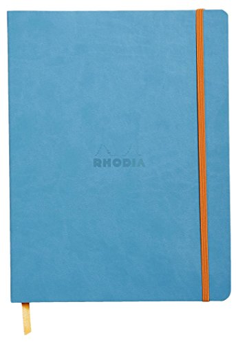 Clairefontaine 117507C - Un cahier souple Rhodia 160 pages ivoire 19x25 cm 90g lignées avec ruban marque-page, fermeture élastique et pochette à soufflet, Couverture en simili cuir italien Turquoise