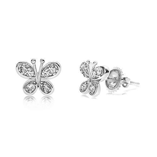 Crystal Butterfly Kids Earrings with Swarovski Elements by Chanteur