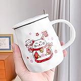 qingci Dibujos Animados Zhaocai Cat Linda Taza de cerámica Simple Taza de Agua de café Taza Fresca pequeña Ventilador de 480 ml, Dos Gatos