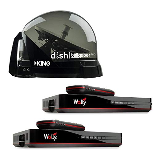 King Dish DTP4900 Tailgater PRO Premium Satellite TV Antenna w/ 2 Wally Receivers