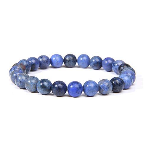 JINGGEGE Bracelets Natural Healing Energy Tiger Eye Bracelet Polished 8 Mm Lapis Lazuli Beads Bangle Elastic Men Women Jewelry (Length : 21cm, Metal Color : Sodalite)