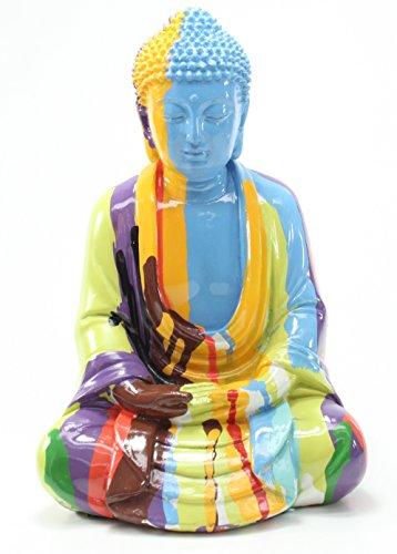 Feng Shui 10'(H) Colorful Shakyamuni Meditating Buddha Figurines Peace Luck Prosperity Statues Home Decor Housewarming Gift Thai (G16535) ~We Pay Your Sales Tax