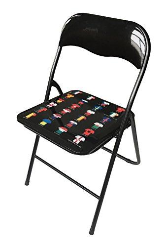 Soliving Jimmy Flag Lot de 10 Chaises en Pliante, PVC, Noir, 44 x 46,5 x 78 cm