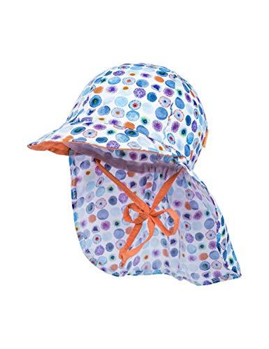maximo Baby-Mädchen Nackenschutz Mütze, Mehrfarbig (Dunkelblau-Lila-Blüten 38), (Herstellergröße: 49)